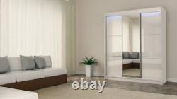 WARDROBE 3 sliding doors, FRONT WITH LACOBEL GLASS and MIRROR bedroom MRVILM180