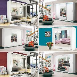 WARDROBE Modern White Sliding Doors Mirror LED Lights New Collection 250cm 120cm
