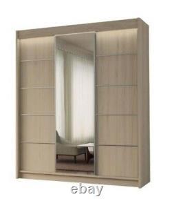 WARDROBE drawers sliding door CUPBOARD bedroom furniture MIRROR MRMA180cm + LED