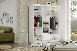 WARDROBE in GREY 2 drawers 3 sliding door MIRROR bedroom furniture MRMA180cm LED