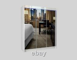 WARDROBE three sliding door FULL MIRROR bedroom furniture MRDE180 +LED included