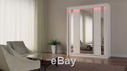 WHITE WARDROBE with 3 sliding doors INT DRAWERS, FULL MIRROR, MRGR 180cm + LED