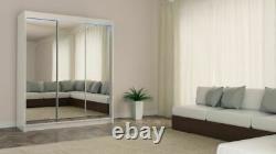 WHITE WORDROBE cupboard 3 slide doors MIRROR INT DRAWS bedroom hallway MRDE180cm
