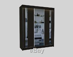 Wardrobe 2 drawers 3 Sliding Mirrored Doors, Modern Bedroom Furniture MRGR180cm