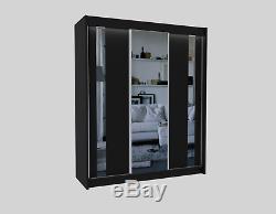 Wardrobe 3 Sliding Door Mirror, 2 int drawers Bedroom Furniture Cupboard MRGR180