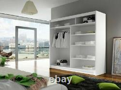 Wardrobe BEGA 3 180 with Sliding Doors Mirror Hanging Rail Shelves New