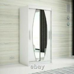 Wardrobe ELYPSE 120 Sliding Doors Mirror Hanging Rail Shelves New