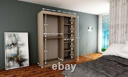 Wardrobe ELYPSE 150 Sliding Doors Mirror Hanging Rail Shelves New