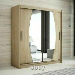 Wardrobe ELYPSE 200 Sliding Doors Mirror Hanging Rail Shelves New