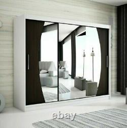 Wardrobe ELYPSE 250 Sliding Doors Mirror Hanging Rail Shelves New