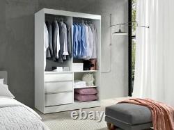 Wardrobe HAITI 140 Sliding Doors Mirror Hanging Rail Drawers Multicolour New