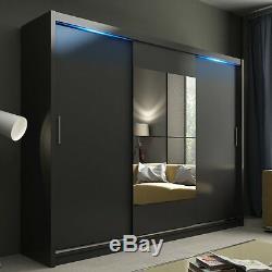 Wardrobe KOLA 01-250 Sliding Doors Mirror Hanging Rail Shelves New