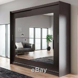 Wardrobe KOLA 12-250 Sliding Doors Mirror Hanging Rail Shelves New
