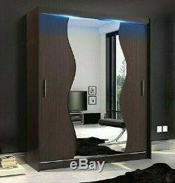 Wardrobe MERCURY 10-180 Sliding Doors Mirror Hanging Rail Shelves New