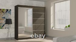 Wardrobe Mirrored Modern, 2 Sliding Doors Bedroom Furniture MRMA 200 + FREE LED