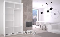 Wardrobe Modern Mirrored 2 Sliding Doors 120cm MRMA Hallway Bedroom Furniture