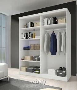 Wardrobe NEOMI 05 Sliding Doors Rails Shelves Mirror New