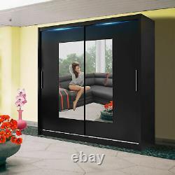 Wardrobe Sliding Door 3 Sizes 5 Colours Mirror Spacious Closet 120cm 150cm 180cm