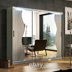 Wardrobe Sliding Door Mirror LED Large Closet Cabinet 5 Colours Rail 250cm NEW
