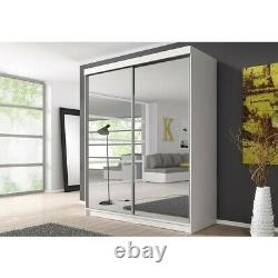 Wardrobe Sliding Doors MONZA 20 183-203 cm Mirror Front Hanging Rail Shelves