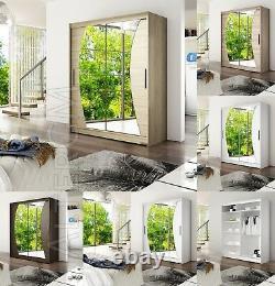 Wardrobe Sliding Doors Mirror Modern Bedroom Storage 4 Colours Closet 150cm NEW