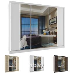 Wardrobe Sliding Doors Modern Bedroom Mirror Hanging Rail Shelves