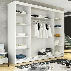 Wardrobe Sliding Shelves Rail Doors Many Colours Mirror LED Large Closet 250cm