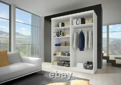 Wardrobe VISTA 05 Sliding Doors Rails Shelves Mirror New