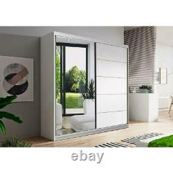 Wardrobe with Mirror Sliding Door 160cm Hanging Rail and Shelves