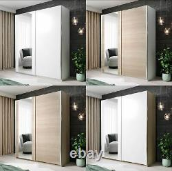Wardrobe with Mirror Sliding Doors 120 180cm Quality Hanging Rail Shelves