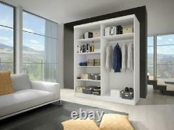 Wardrobe with Mirror Sliding Doors 150cm Quality Hanging Rail Shelves