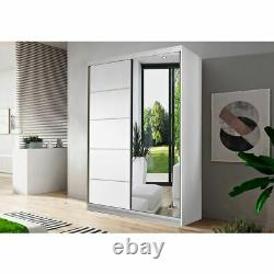 Wardrobe with Sliding Doors and Mirror NEOMI05 120cm Hanging Rail + Shelves