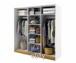 White and oak wardrobe CALISTO 220cm 3 sliding doors with mirrors