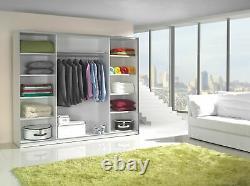 White matt COCO large wardrobe 244cm with mirror and sliding doors