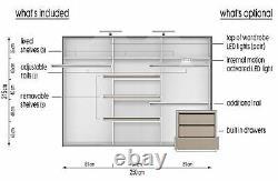 White matt wardrobe CLEO 2 250cm 3 sliding doors with mirrors