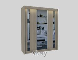 Wordrobe 3 Sliding Mirrored Doors + 2 drawers Modern Bedroom Furniture MRGR180cm